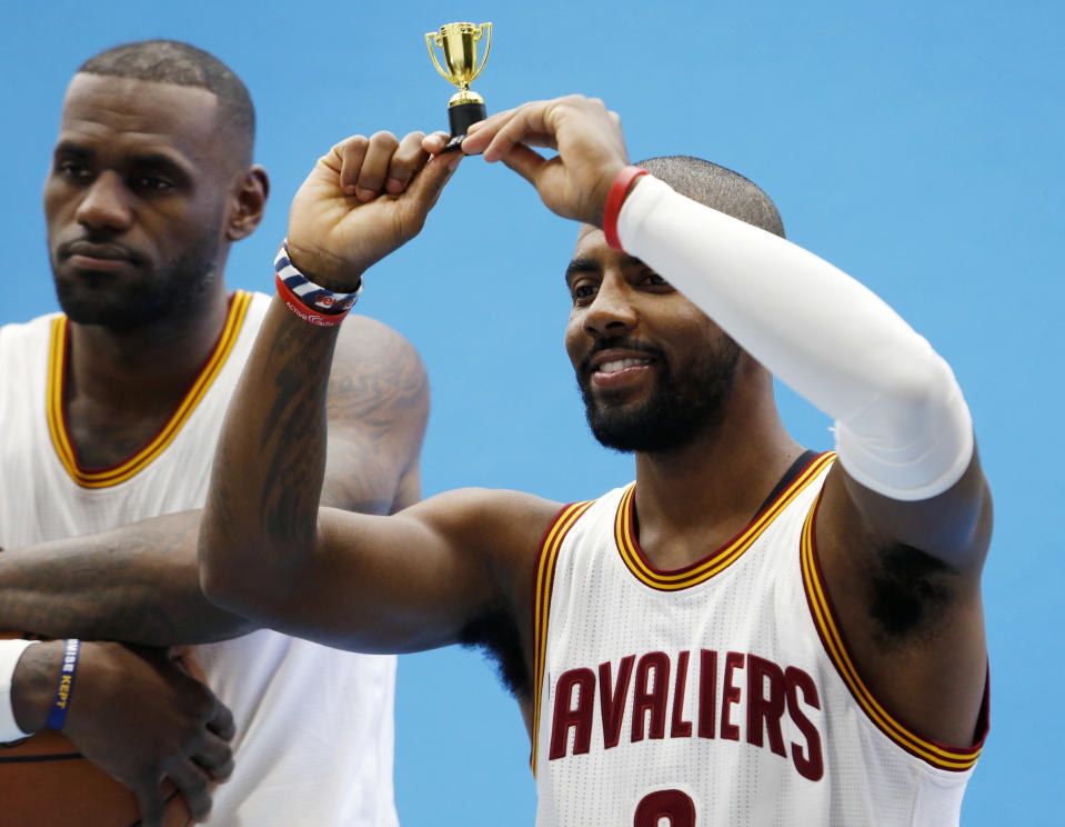 Kyrie Irving and LeBron James will now battle it out for Eastern Conference supremacy. (AP)