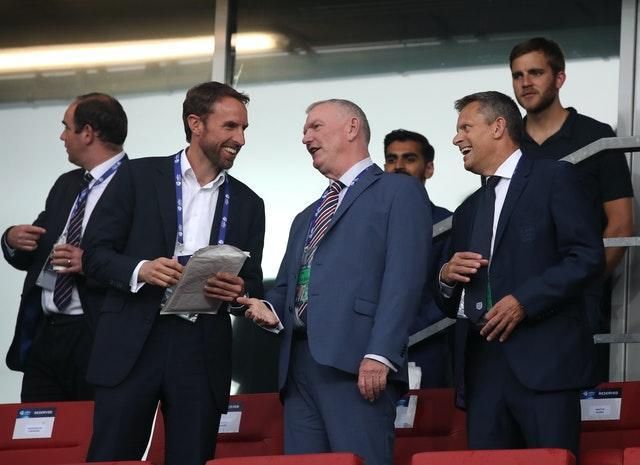 England manager Gareth Southgate, left, criticised Greg Clarke's comments