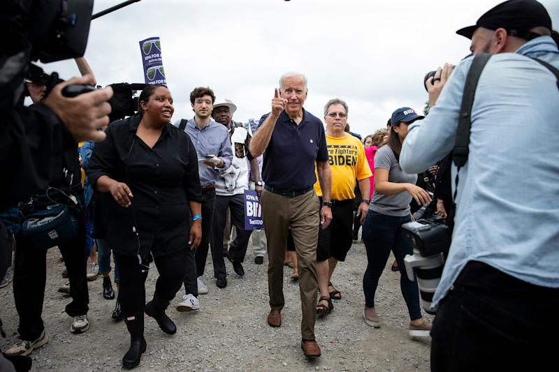 Former Vice-President and 2020 Democratic presidential candidate Joe Biden arrives for the Polk County Democrats Steak Fry in Water Works Park on Saturday, Sept. 21, 2019 in Des Moines.