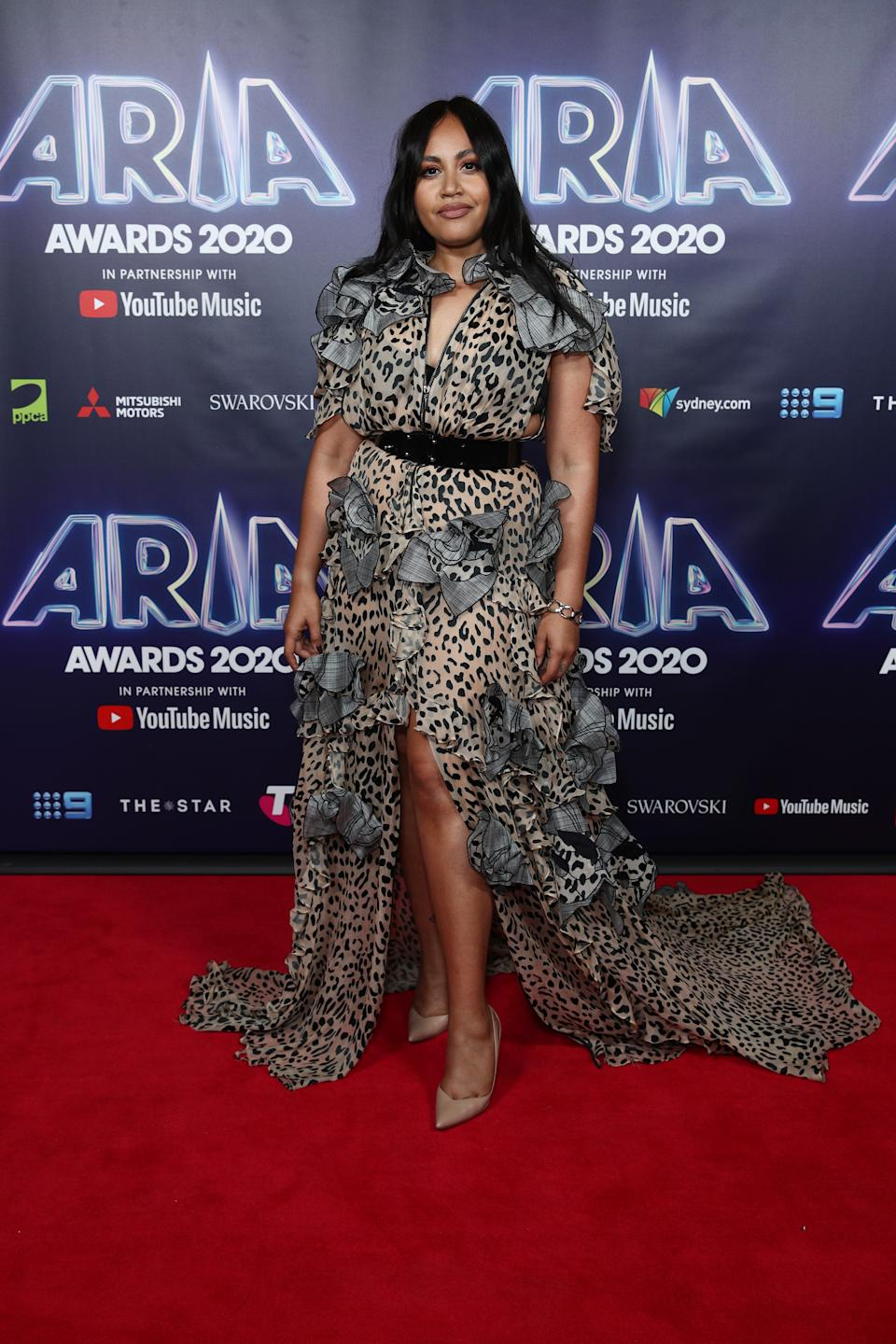 Jessica Mauboy attends the 2020 ARIA Awards at The Star on November 24, 2020 in Sydney, Australia.