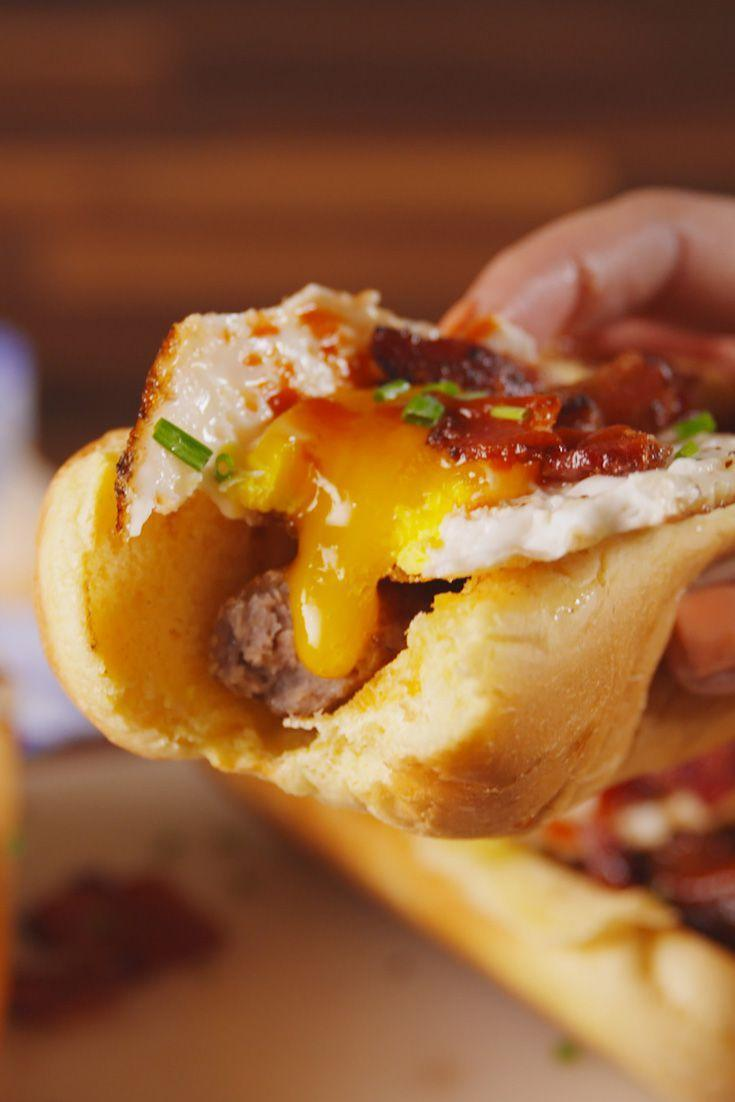 <p>Breakfast Dog > Bacon, Egg and Cheese</p><p>Get the recipe from <span>Delish</span>.</p>