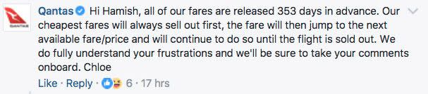 Qantas' reply wasn't quite the explanation Mr Griffin or Facebook users were hoping for. Source: Facebook