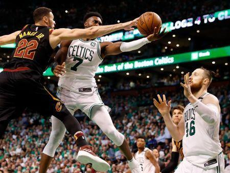 May 23, 2018; Boston, MA, USA; Cleveland Cavaliers forward Larry Nance Jr. (22) blocks a shot from Boston Celtics guard Jaylen Brown (7) in front of center Aron Baynes (46) during the fourth quarter of Boston's 96-83 win over the Cleveland Cavaliers in game five of the Eastern conference finals of the 2018 NBA Playoffs at TD Garden. Mandatory Credit: Winslow Townson-USA TODAY Sports