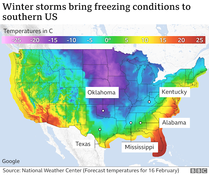 Map of freezing conditions in US