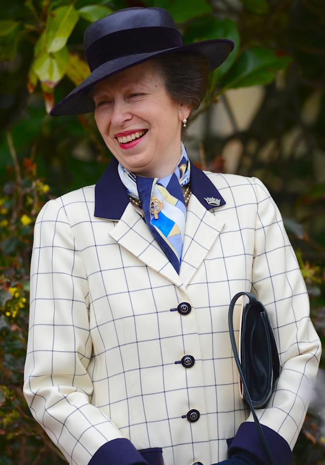 WINDSOR, ENGLAND - APRIL 08: Princess Anne, The Princess Royal leaves Saint George's Chapel in Windsor Castle after attending the Easter Mattins Service on April 8, 2012 in Windsor, United Kingdom.  (Photo by Leon Neal - WPA Pool/Getty Images)
