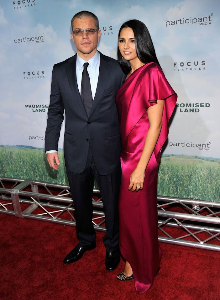 "NEW YORK, NY - DECEMBER 04: Actor Matt Damon (L) and Luciana Barroso attend ""Promised Land"" premiere at AMC Loews Lincoln Square 13 theater on December 4, 2012 in New York City.  (Photo by Stephen Lovekin/Getty Images)"