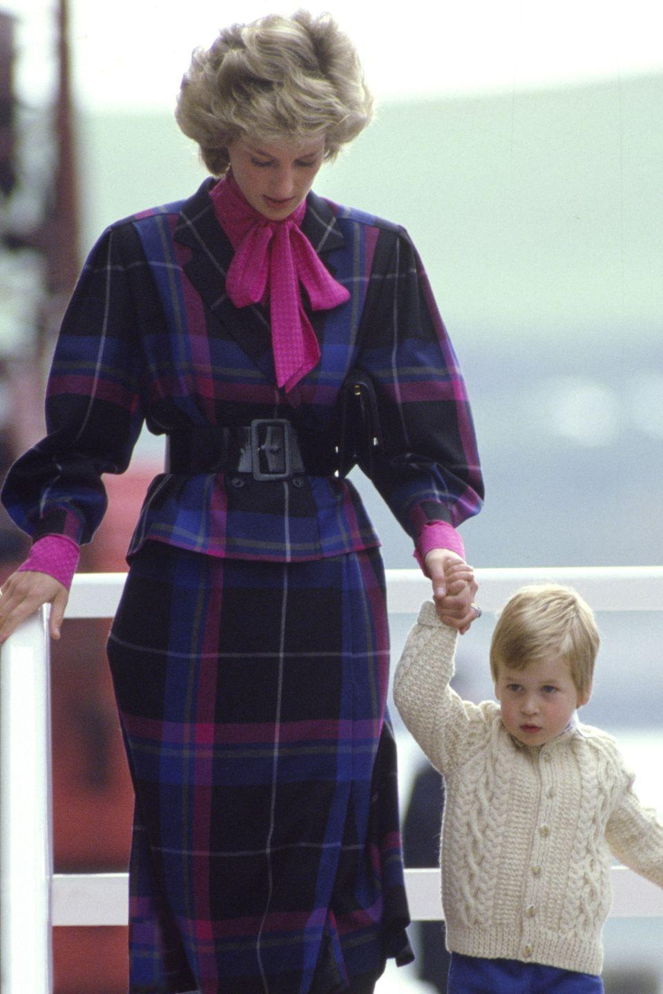 <p>Including purple, which she wore while walking with a little Prince William on the Royal Yacht Britannia in 1985.</p>