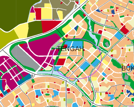 Zoomed-in view of Tengah town on the 2019 URA Master Plan