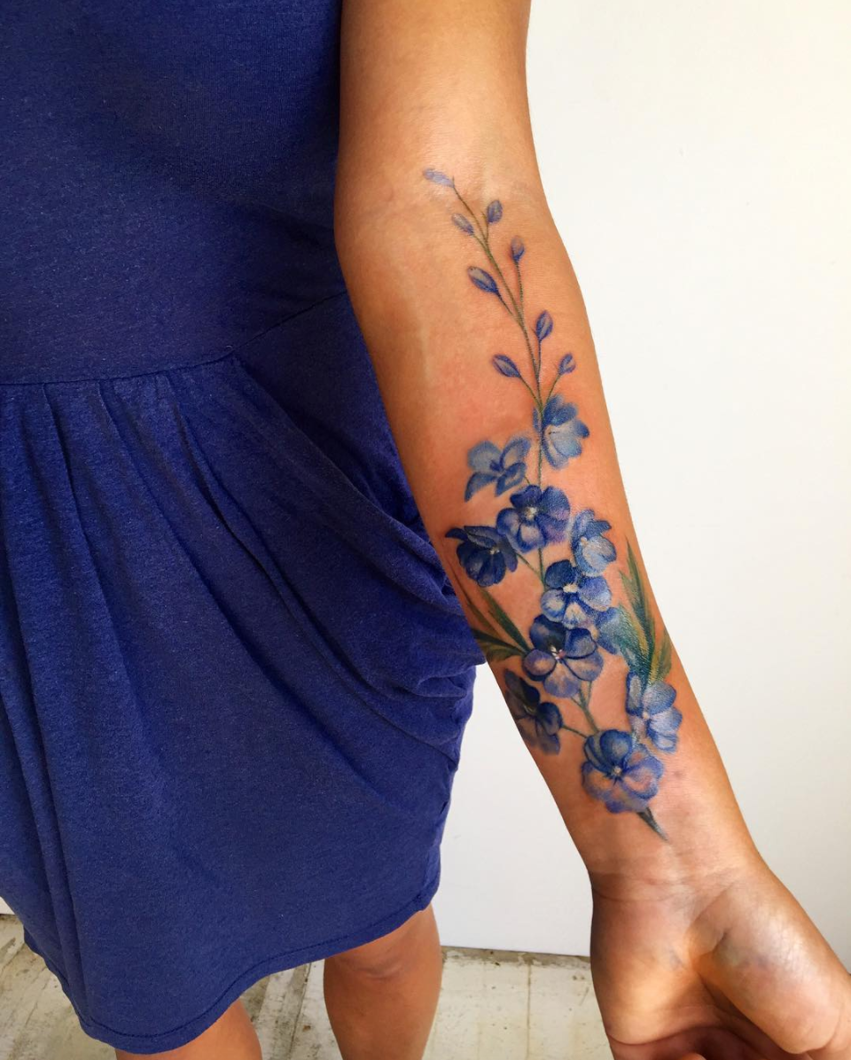 Wachob's client actually got this to cover up an old tattoo. This is the more realistic side of watercolor, but the shading and rich color totally qualify.