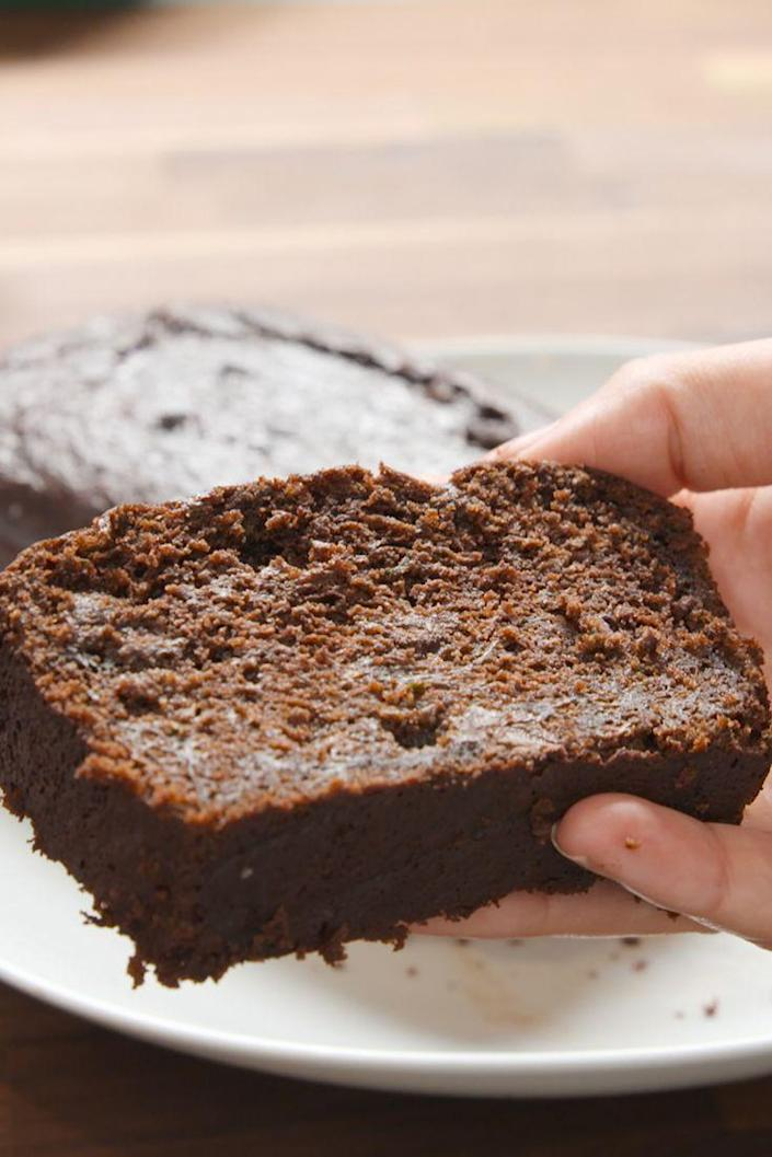 """<p>Balance out your chocolate overload with some zucchini.</p><p>Get the recipe from <a href=""""https://www.delish.com/cooking/recipe-ideas/recipes/a48378/death-by-chocolate-zucchini-bread-recipe/"""" rel=""""nofollow noopener"""" target=""""_blank"""" data-ylk=""""slk:Delish"""" class=""""link rapid-noclick-resp"""">Delish</a>. </p>"""