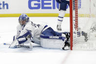 Toronto Maple Leafs goaltender Jack Campbell stops a shot during the second period of an NHL hockey game against the Anaheim Ducks Friday, March 6, 2020, in Anaheim, Calif. (AP Photo/Marcio Jose Sanchez)