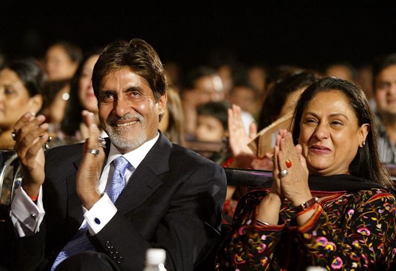 Amitabh Bachchan and Jaya Bachchan at the Bombay Police Diwali Meet in Bombay October 22, 2003. (REUTERS/Sherwin Crasto)