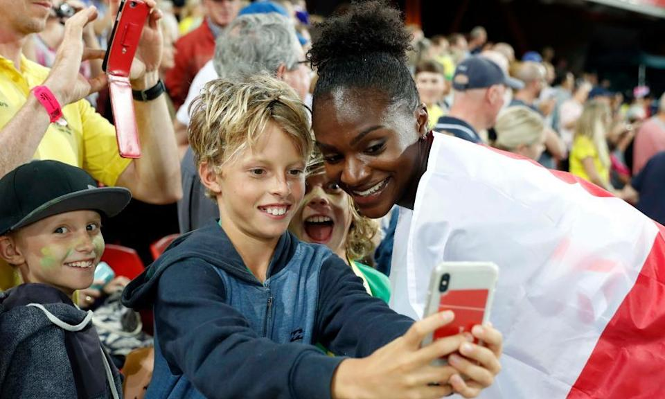 On the right track: with a young fan at the Gold Coast 2018 Commonwealth Games.