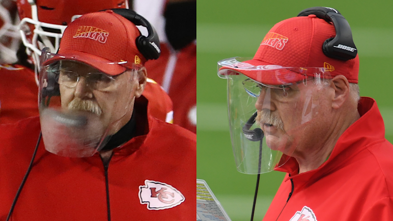 How Andy Reid fixed his face shield so it doesn't fog up anymore