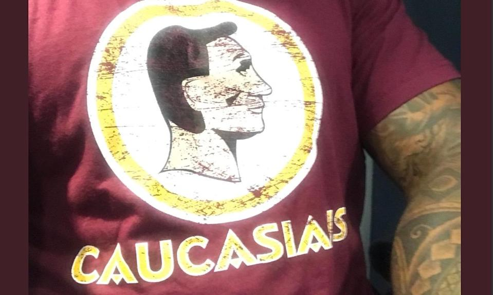"Frederick Joseph is looking ramp up the pressure on <a class=""link rapid-noclick-resp"" href=""/nfl/teams/was"" data-ylk=""slk:Redskins"">Redskins</a> owner Daniel Snyder with a campaign featuring ""Caucasians"" T-shirts. (Twitter/<span class=""username u-dir""><a href=""https://twitter.com/FredTJoseph"" class=""link rapid-noclick-resp"" rel=""nofollow noopener"" target=""_blank"" data-ylk=""slk:@FredTJoseph"">@FredTJoseph</a>)</span>"