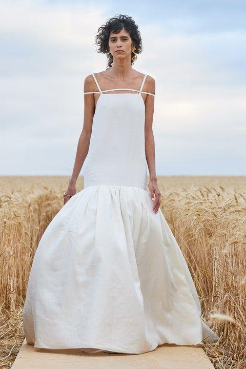 <p>Trade in your little black dress for a cream or ivory ensemble. Jacquemus <em>(left)</em> created ethereal maxi silhouettes suitable to walk down the aisle in, while Khaite and Bevza's are ready and waiting for a night on the town.</p>