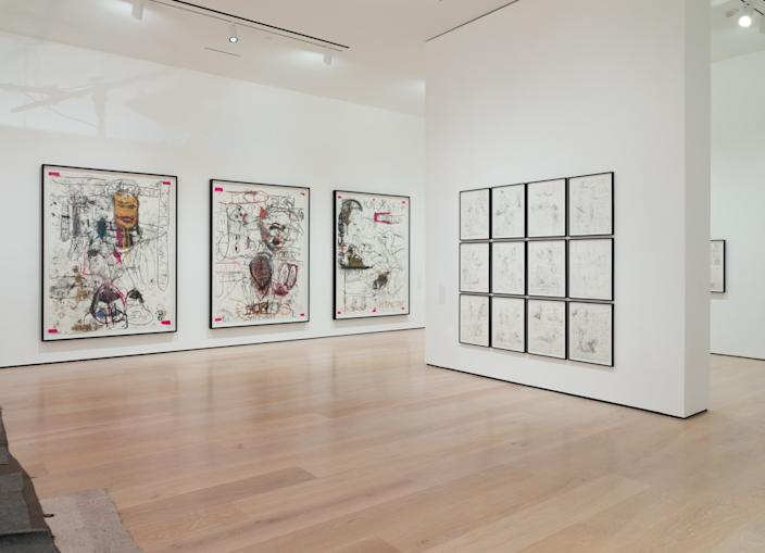 "Drawings from Paul McCarthy's ""NV Night Vater"" series can be seen on the far wall at left in his solo exhibition at the Hammer Museum. <span class=""copyright"">(Fredrik Nilsen Studio)</span>"