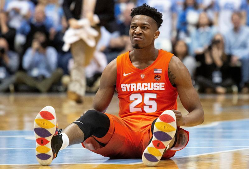 Syracuse's Tyus Battle (25) reacts after hitting a basket during the second half of an NCAA college basketball game against North Carolina in Chapel Hill, N.C., Tuesday, Feb. 26, 2019. (AP Photo/Ben McKeown)