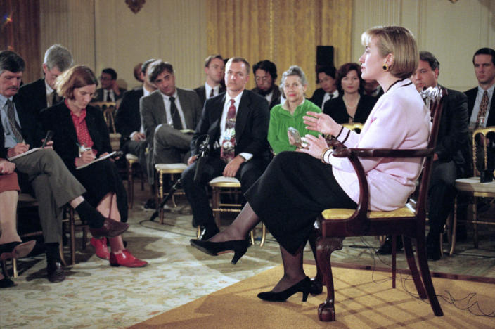 <p>First lady Hillary Rodham Clinton meets reporters in the State Dining Room of the White House in Washington in April 1994. In a conciliatory appearance before the press, Clinton blamed her own efforts to protect her privacy for allowing questions about the Whitewater land deal to spiral. (Photo: Doug Mills/AP)</p>