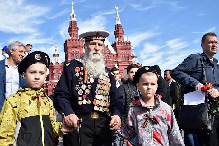 A WWII veteran arrives at Moscow's Red Square on May 9, 2015, to watch the Victory Day military parade (AFP Photo/Kirill Kudryavtsev)