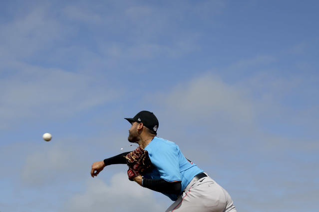 Miami Marlins pitcher Pablo Lopez throws a bullpen session during spring training baseball practice Sunday, Feb. 16, 2020, in Jupiter, Fla. (AP Photo/Jeff Roberson)