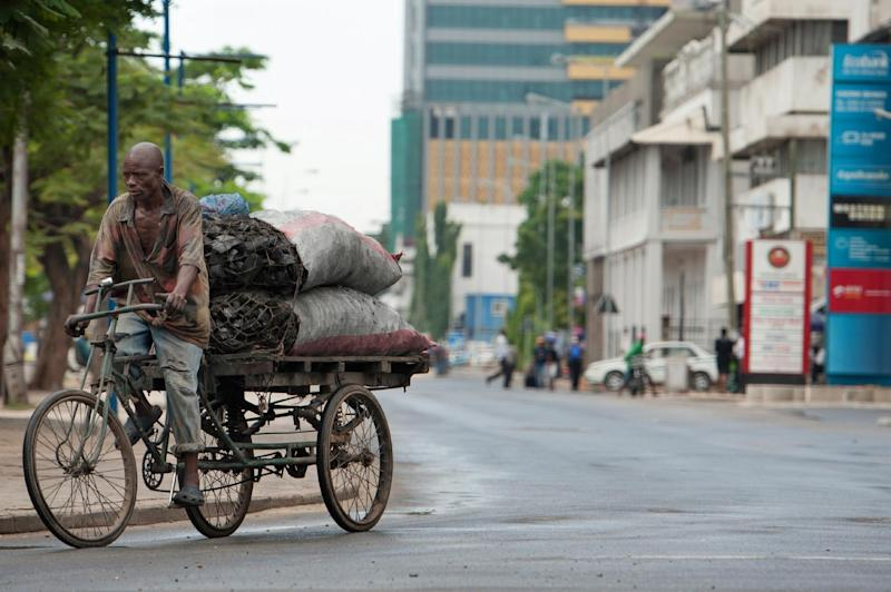 A man transports charcoal down Sokoine Drive along the harbour front in downtown Dar es Salaam on April 27, 2014 (AFP Photo/Daniel Hayduk)