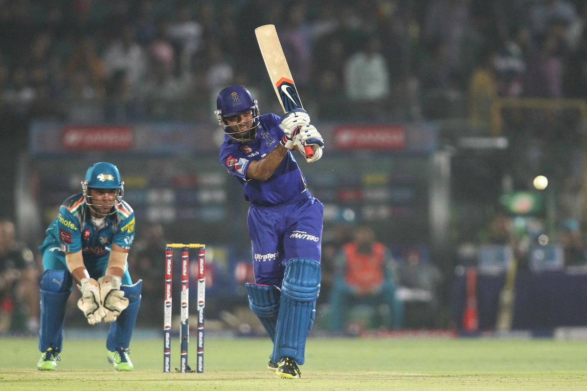Ajinkya Rahane of Rajasthan Royals plays a delivery straight during match 50 of the Pepsi Indian Premier League (IPL) 2013 between The Rajasthan Royals and the Pune Warriors India held at the Sawai Mansingh Stadium in Jaipur on the 5th May 2013..Photo by Shaun Roy-IPL-SPORTZPICS ..Use of this image is subject to the terms and conditions as outlined by the BCCI. These terms can be found by following this link:..https://ec.yimg.com/ec?url=http%3a%2f%2fwww.sportzpics.co.za%2fimage%2fI0000SoRagM2cIEc&t=1493332662&sig=0DTofaqTFqxd5onUWi5Dgg--~C