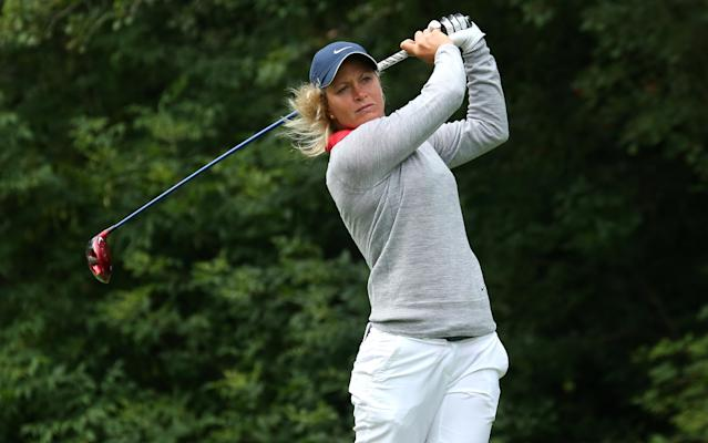 EDMONTON, AB - AUGUST 25: Suzann Pettersen of Norway hits her tee shot on the fifth hole during the final round of the CN Canadian Women's Open at Royal Mayfair Golf Club on August 25, 2013 in Edmonton, Alberta, Canada. (Photo by Stephen Dunn/Getty Images)