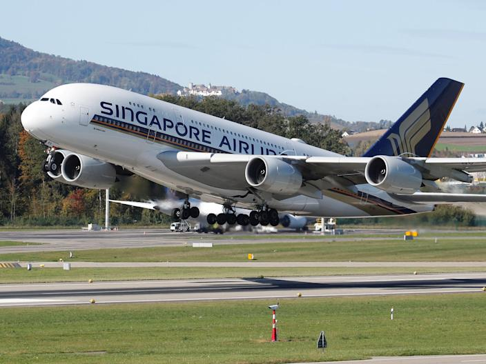 A Singapore Airlines Airbus A380 aircraft.