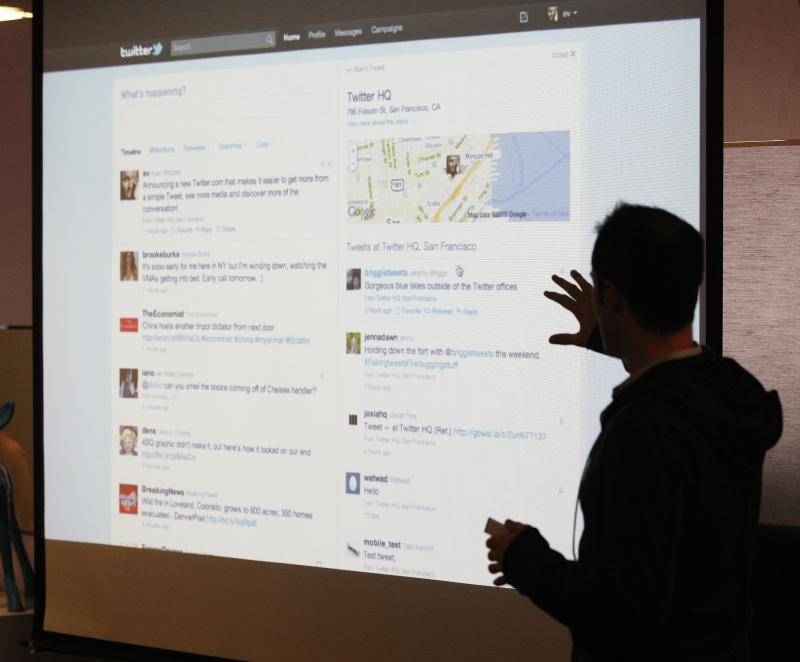 FILE - In this Sept. 14, 2010 file photo, Twitter CEO Evan Williams makes a presentation about changes to the social network at Twitter headquarters in San Francisco,  In the latest online attack, Twitter says hackers may have gained access to information on 250,000 of its more than 200 million active users, Friday, Feb. 1, 2013. (AP Photo/Marcio Jose Sanchez, File)