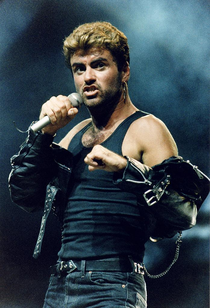 George Michael performs on stage on his 'Faith' tour, at Earls Court Arena on June 15th, 1988 in London, England. (Photo: Peter Still/Redferns)