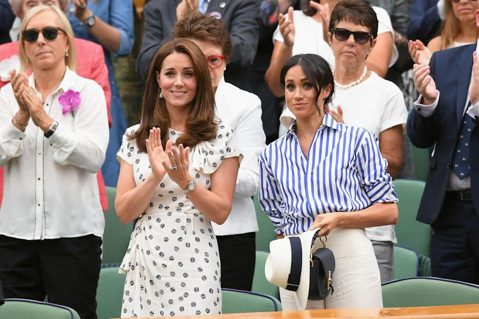 """<p>At one point during their first one-on-one girls <a href=""""https://www.goodhousekeeping.com/life/g22142424/kate-middleton-wimbledon-prince-william-best-moments/"""" rel=""""nofollow noopener"""" target=""""_blank"""" data-ylk=""""slk:trip to Wimbledon"""" class=""""link rapid-noclick-resp"""">trip to Wimbledon</a> this summer, the Duchesses were <em><strong>very</strong></em> unamused at what was going down on the court. </p>"""