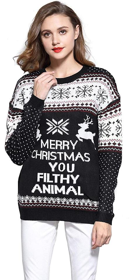 "<p>If you watch Home Alone every season, you need this <a href=""https://www.popsugar.com/buy/v28-Women-Christmas-Reindeer-Snowflakes-Sweater-512986?p_name=v28%20Women%27s%20Christmas%20Reindeer%20Snowflakes%20Sweater&retailer=amazon.com&pid=512986&price=15&evar1=fab%3Aus&evar9=32410225&evar98=https%3A%2F%2Fwww.popsugar.com%2Ffashion%2Fphoto-gallery%2F32410225%2Fimage%2F46862160%2Fv28-Women-Christmas-Reindeer-Snowflakes-Sweater&list1=shopping%2Csweaters%2Choliday%2Cchristmas%2Cwinter%2Cwinter%20fashion%2Choliday%20fashion&prop13=api&pdata=1"" rel=""nofollow"" data-shoppable-link=""1"" target=""_blank"" class=""ga-track"" data-ga-category=""Related"" data-ga-label=""https://www.amazon.com/Christmas-Reindeer-Snowflakes-Pullover-Black-PairedRD/dp/B013JNS8SK/ref=sr_1_18?crid=24HW3KZMRTGQP&amp;dchild=1&amp;keywords=ugly%2Bchristmas%2Bsweater%2Bfor%2Bwomen&amp;qid=1573076050&amp;sprefix=ugly%2Bch%2Caps%2C150&amp;sr=8-18&amp;th=1&amp;psc=1"" data-ga-action=""In-Line Links"">v28 Women's Christmas Reindeer Snowflakes Sweater</a> ($15).</p>"