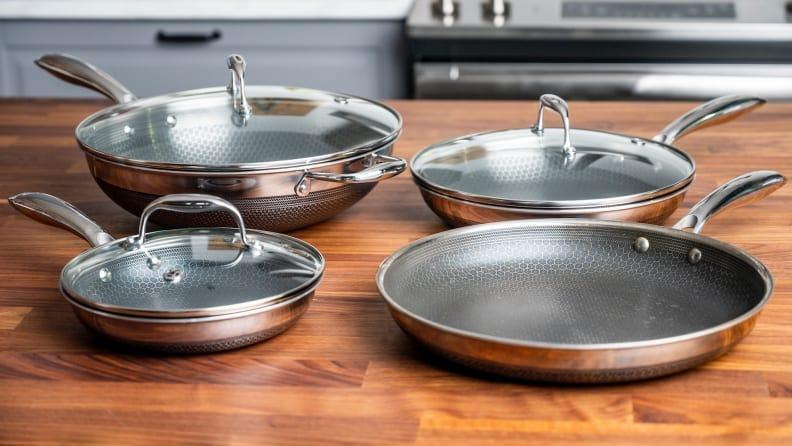 The pans in this HexClad cookware set are durable, quick to heat and easy to clean.
