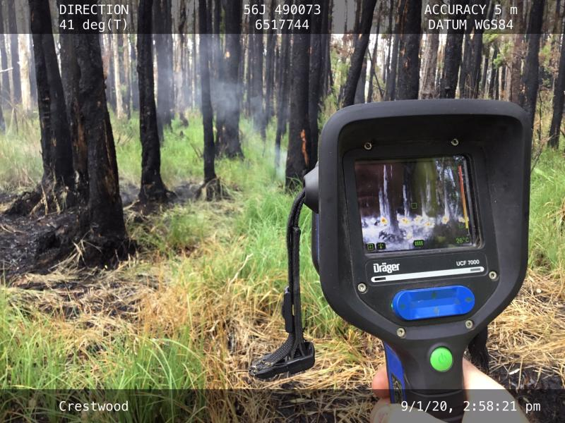 This camera shows areas in white being the hottest. Source: NSW National Parks and Wildlife Service