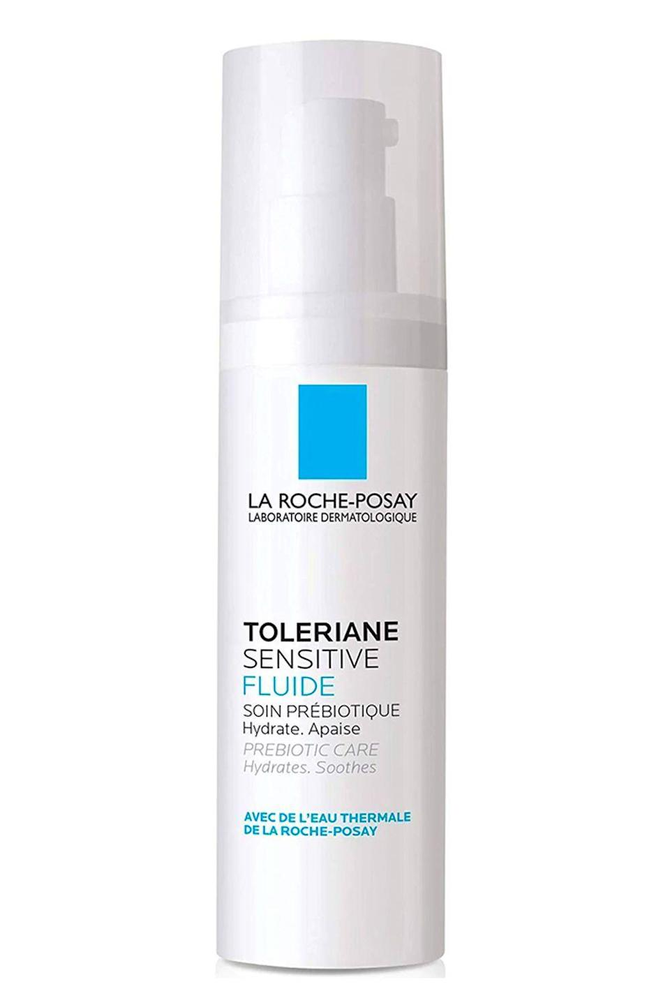 """<p><strong>La Roche-Posay</strong></p><p>laroche-posay.us</p><p><strong>$29.99</strong></p><p><a href=""""https://go.redirectingat.com?id=74968X1596630&url=https%3A%2F%2Fwww.laroche-posay.us%2Fface-and-body-skin-care%2Fface-products%2Fface-moisturizer%2Ftoleriane-fluide-oil-free-moisturizer-3337875588676.html&sref=https%3A%2F%2Fwww.cosmopolitan.com%2Fstyle-beauty%2Fbeauty%2Fg35089763%2Fbest-rosacea-skin-care-products%2F"""" rel=""""nofollow noopener"""" target=""""_blank"""" data-ylk=""""slk:Shop Now"""" class=""""link rapid-noclick-resp"""">Shop Now</a></p><p>If your rosacea-prone skin also happens to be <a href=""""https://www.cosmopolitan.com/style-beauty/beauty/g29191122/moisturizer-for-oily-acne-prone-skin/"""" rel=""""nofollow noopener"""" target=""""_blank"""" data-ylk=""""slk:oily"""" class=""""link rapid-noclick-resp"""">oily</a>, this moisturizer from La Roche-Posay is for you. The <strong>lightweight, oil-free lotion soaks into skin fast</strong> (so there's no greasy residue) and helps eliminate redness with niacinamide, glycerin, and the brand's famous healing spring water.</p>"""
