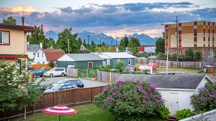 ANCHORAGE, ALASKA - JUNE 8 - A scenic backyard view in a local neighborhood on June 8 2019 in Anchorage Alaska.