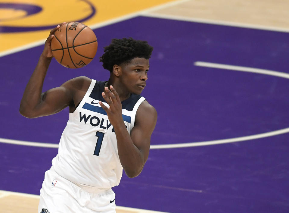 LOS ANGELES, CALIFORNIA - MARCH 16: Anthony Edwards #1 of the Minnesota Timberwolves grabs a pass during a 137-121 Los Angeles Lakers win at Staples Center on March 16, 2021 in Los Angeles, California.