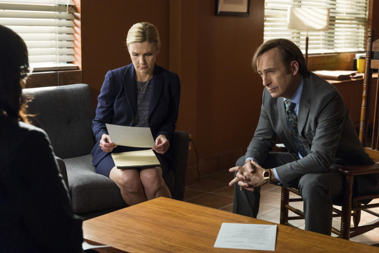 Bob Odenkirk as Jimmy McGill, Rhea Seehorn as Kim Wexler - Better Call Saul _ Season 3, Episode 2 - Photo Credit: Michele K. Short/AMC/Sony Pictures Television