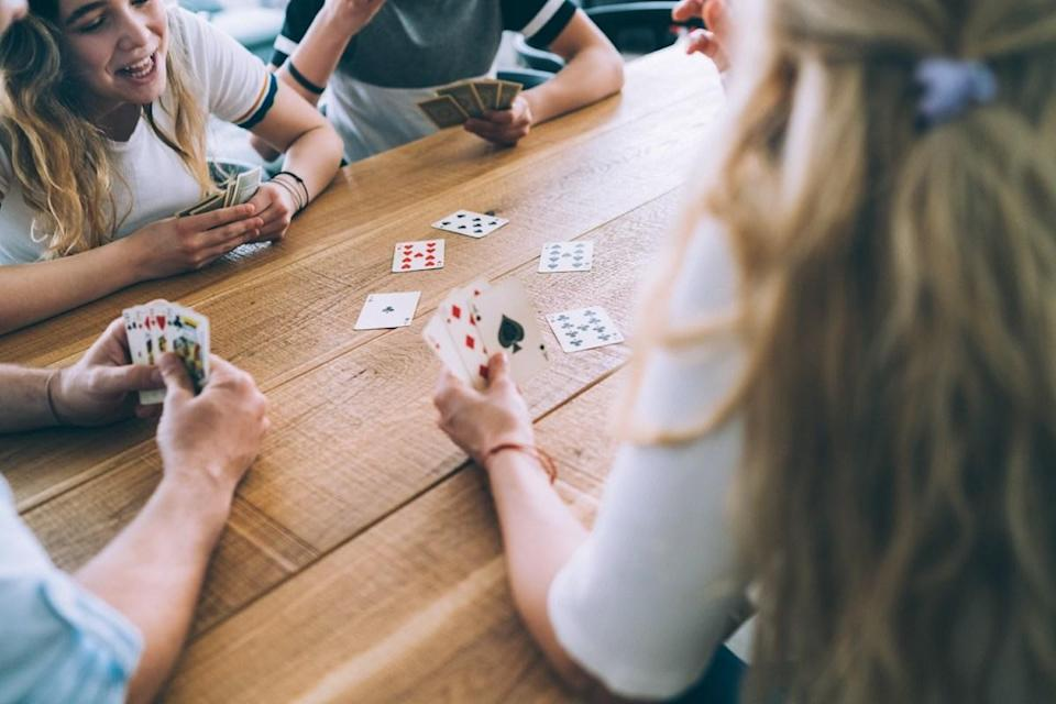 "Don't blame your bad hand at the poker table on a stroke of bad luck; it's really just a matter of math, seeing as there are more ways to arrange a deck of cards than there are <a href=""http://www.fnal.gov/pub/science/inquiring/questions/atoms.html"" rel=""nofollow noopener"" target=""_blank"" data-ylk=""slk:total atoms on Earth"" class=""link rapid-noclick-resp"">total atoms on Earth</a>! If a card deck is shuffled properly, there's a pretty high chance that it comes out in an arrangement that has never existed before, because a deck of 52 cards has an astronomically large number of <a href=""http://www.murderousmaths.co.uk/cardperms.htm"" rel=""nofollow noopener"" target=""_blank"" data-ylk=""slk:permutations"" class=""link rapid-noclick-resp"">permutations</a>. (Put simply: It's a <em>69-digit</em> number!)"