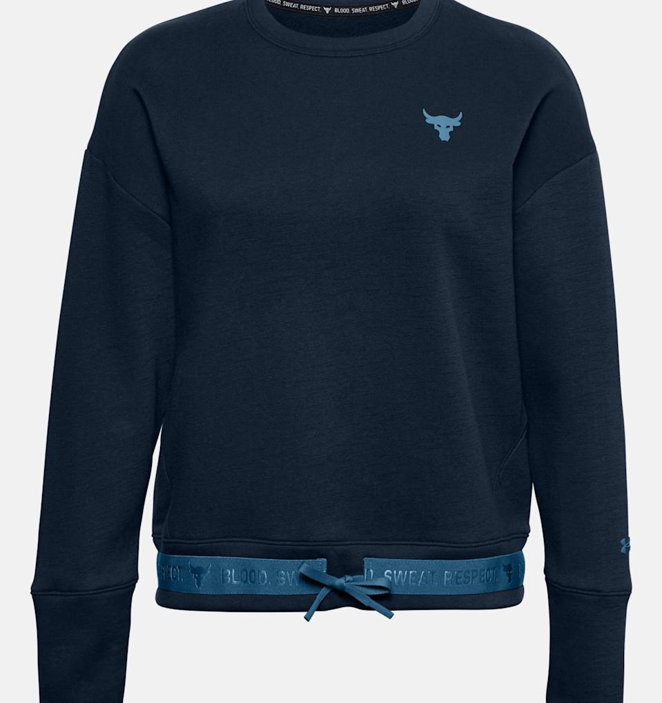 Women's Project Rock Charged Cotton Fleece Crew. Image via Under Armour.