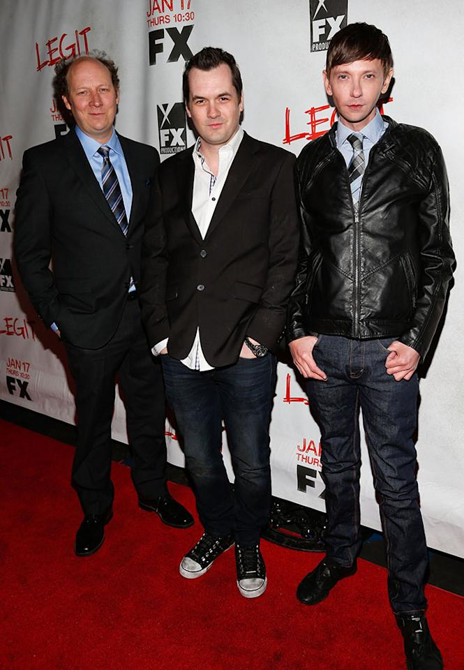 "Dan Bakkedahl, Jim Jefferies and DJ Qualls attend the screening of FX's new comedy series ""Legit"" on January 14, 2013 in Los Angeles, California."