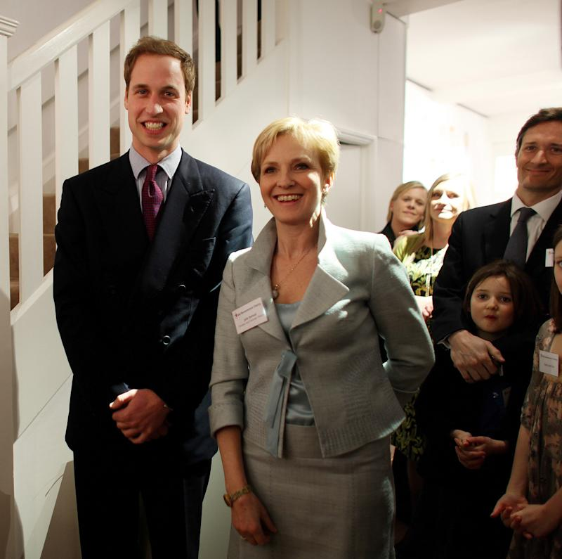 Prince William with trustee and patron Julia Samuel at a reception of The Child Bereavement Charity held at the Sladmore Contemporary Art Gallery, London. Picture -David Bebber