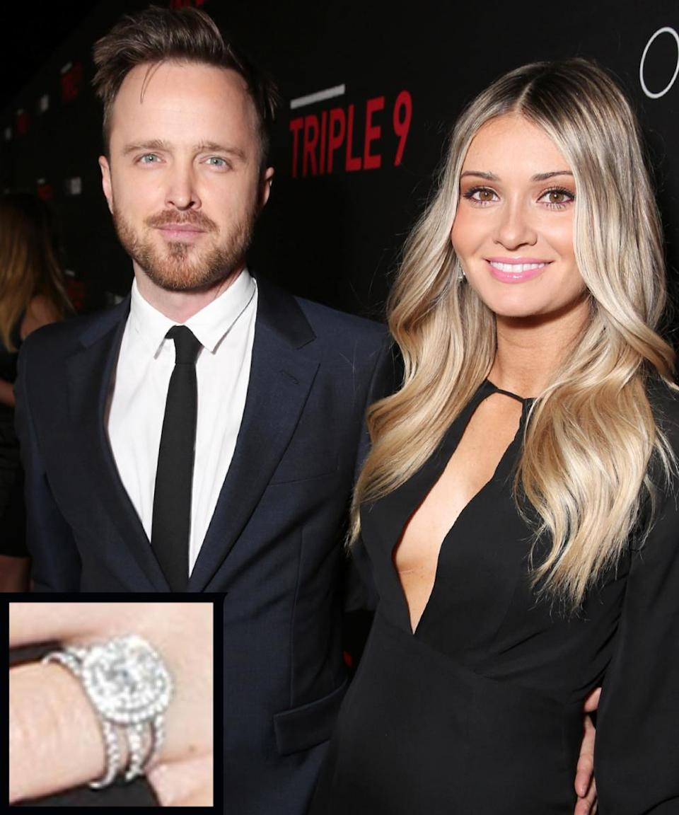 <p>Actor Aaron Paul proposed to Lauren Parsekian on New Year's Eve in Paris with a beautiful cushion-cut diamond ring. The couple wed in May 2013.</p>