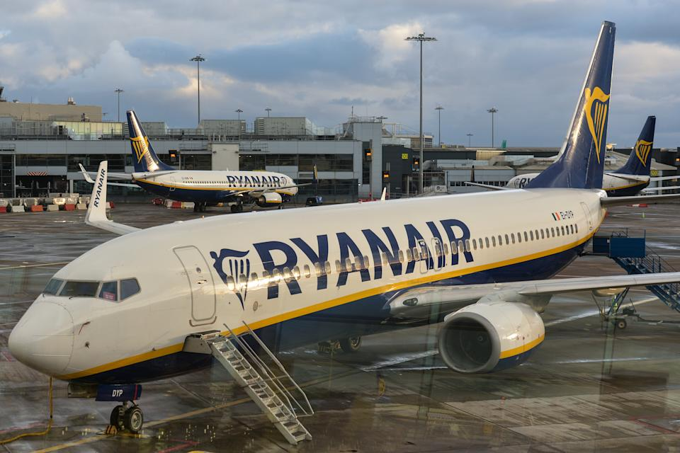 Ryanair planes seen grounded at Dublin Airport, Ireland. Photo: Artur Widak/NurPhoto via Getty Images