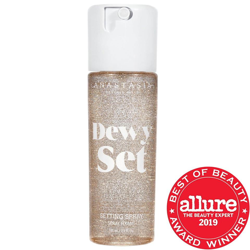 "<p>This water-based <a href=""https://www.popsugar.com/buy/Anastasia-Beverly-Hills-Dewy-Set-Setting-Spray-587081?p_name=Anastasia%20Beverly%20Hills%20Dewy%20Set%20Setting%20Spray&retailer=sephora.com&pid=587081&price=15&evar1=bella%3Aus&evar9=47597630&evar98=https%3A%2F%2Fwww.popsugar.com%2Ffashion%2Fphoto-gallery%2F47597630%2Fimage%2F47597652%2FAnastasia-Beverly-Hills-Dewy-Set-Setting-Spray&list1=makeup%2Csephora%2Cbeauty%20shopping&prop13=api&pdata=1"" class=""link rapid-noclick-resp"" rel=""nofollow noopener"" target=""_blank"" data-ylk=""slk:Anastasia Beverly Hills Dewy Set Setting Spray"">Anastasia Beverly Hills Dewy Set Setting Spray</a> ($15-$26) helps different face-makeup products blend together for an even texture, or it can be used as a glow-inducing face mist on bare faces.</p>"