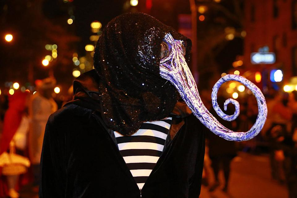 """<p>A participant wears a costume from the """"Nightmare Before Christmas"""" in the 44th annual Village Halloween Parade in New York City on Oct. 31, 2017. (Photo: Gordon Donovan/Yahoo News) </p>"""