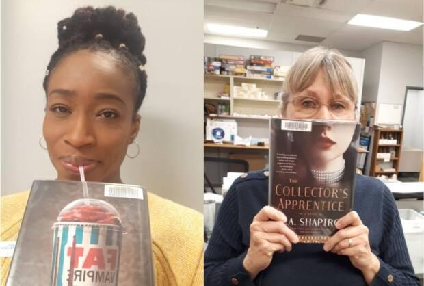 London librarian Lana Winchester-Tucker (left) and other staff at the Cherryhill Branch have been working on their #BookFace. With a creative eye for covers and the right alignment, you, too, can pull off the trend. (London Public Library - image credit)