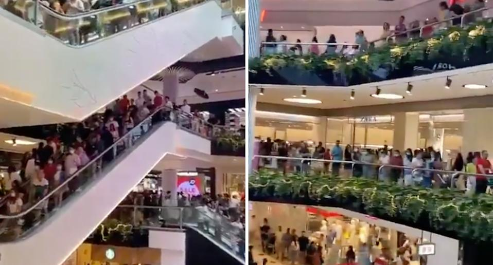 Crowds inside the Parramatta Westfield on Boxing Day.