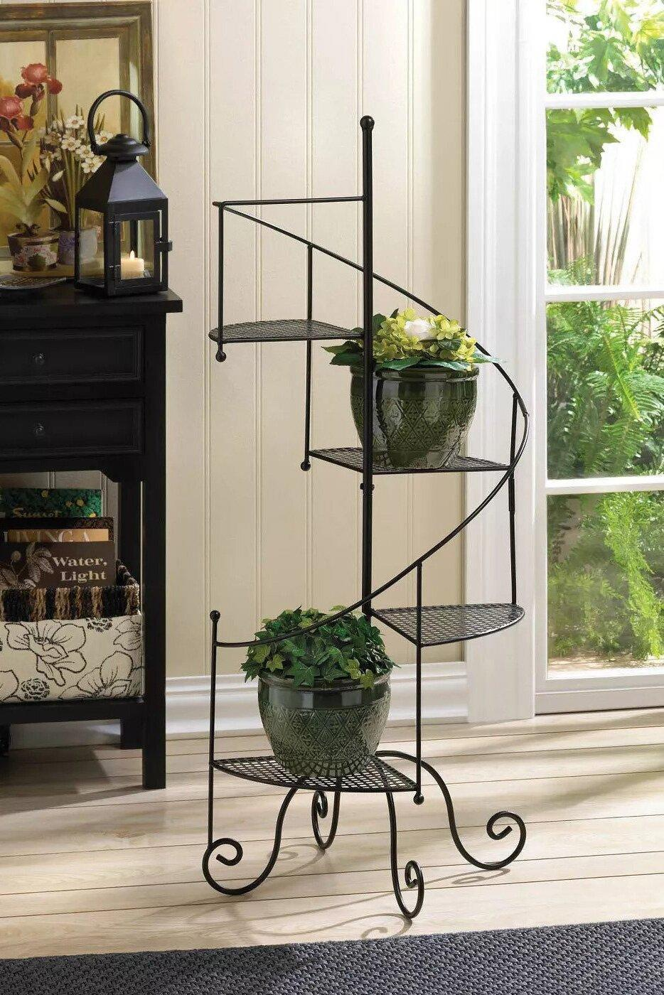 Zings & Thingz Indoor/Outdoor Iron Spiral Showcase Plant Stand